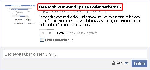 Individualisierung von Facebook Statusmeldungen