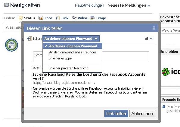Facebook erweitert Möglichkeiten zum Link teilen