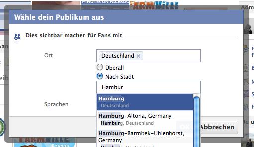 Individuelle Status Updates für Fan Pages
