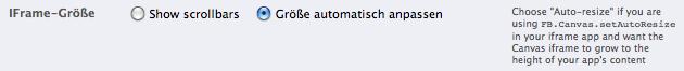Wie man Scrollbalken bei einer Facebook iFrame App entfernt