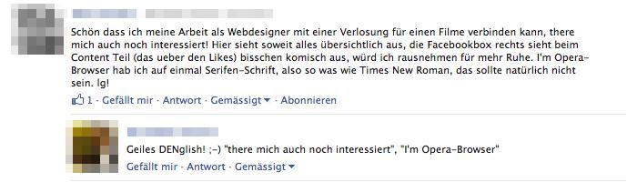 """Denglisierung"" in Facebook Comments deaktivieren"