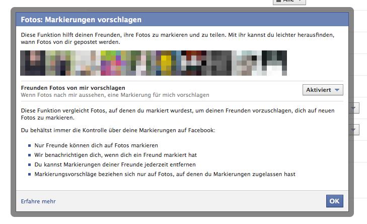 Facebook schaltet automatische Gesichtserkennung frei