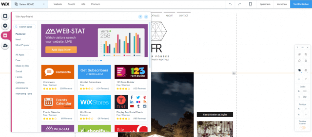 Mit dem App Market wertest du deine Website zusätzlich auf