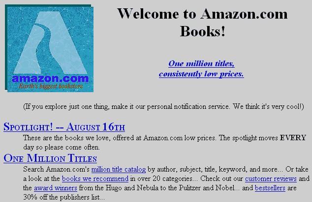 Es ist lange her, aber so sah es 1995 auf der Website von Amazon aus