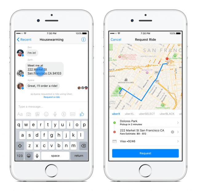 Facebook Messenger aufgebohrt: Fahrten mit Uber direkt buchen