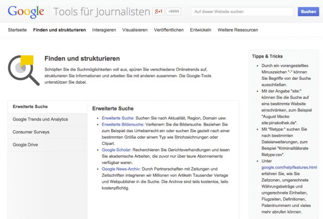 Google hat eine eigene Website nur für Journalisten und hilft ihnen damit