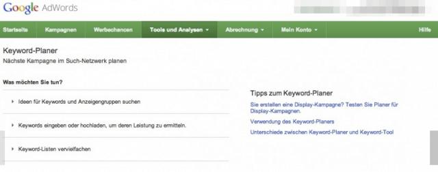 Mit dem Keyword Planner von Google findest du die richtigen Suchbegriffe