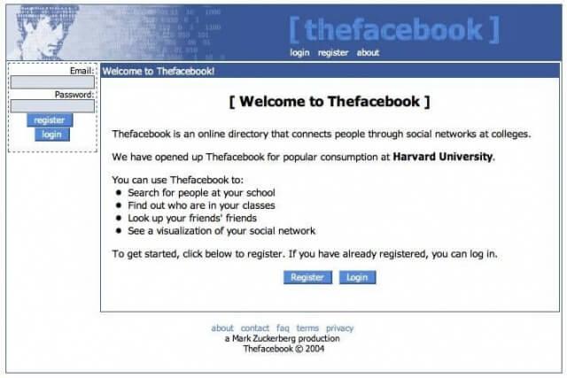 So sah Facebook im Jahr 2004 aus