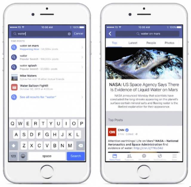 So sieht die neue Facebook Suche auf Smartphones aus
