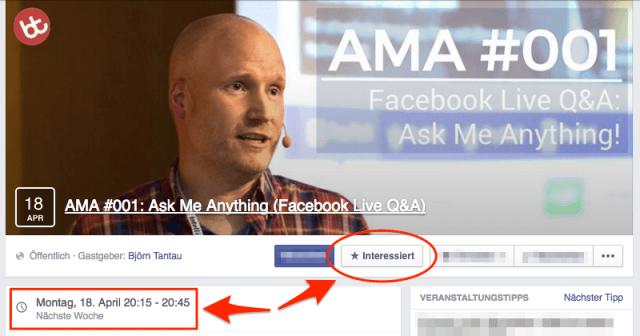 Ich beantworte deine Fragen beim 1. AMA (Ask Me Anything, Facebook Live Q&A)