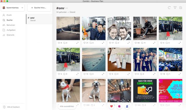 Mit der Suche nach für dich passenden Hashtags findest du Beiträge, die du liken oder kommentieren kannst