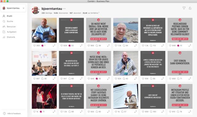 Auch deinen eigenen Instagram Account kannst du mit Combin einfach und schnell verwalten