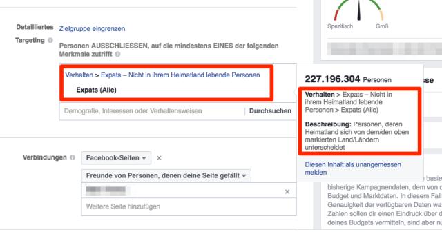 """""""Expats"""" per Zielgruppendefinition ausschließen hilft gegen Fake Likes"""