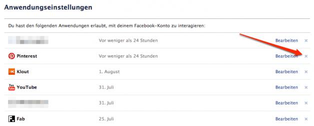 Facebook Anwendungen löschen