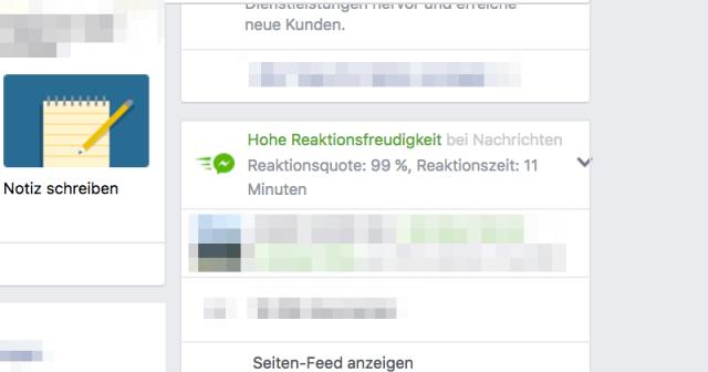 Facebook belohnt Schnelligkeit beim Kundenservice mit einem grünen Trust Symbol