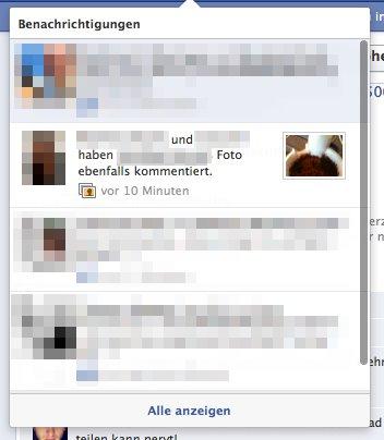 Facebook zeigt Vorschaubilder bei Benachrichtigungen