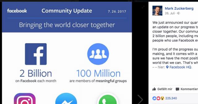 Mark Zuckerberg persönlich zeigt regelmäßig das Wachstum von Facebook