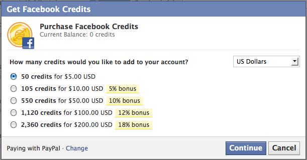 Facebook Credits sollen echtes Zahlungsmittel werden