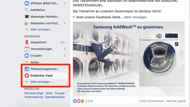 Facebook Explorer Feed in der Desktop Version