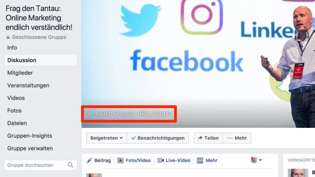 Beispiel einer mit einer Facebook Page verknüpften Gruppe