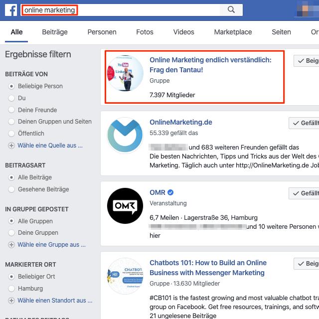 Die Optimierung deiner Gruppe für die richtigen Suchbegriffe bringt dir mehr Sichtbarkeit in der Facebook Suche.