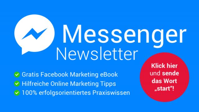 """Klick hier und sende im Messenger das Wort """"start"""" an meine Facebook Page"""