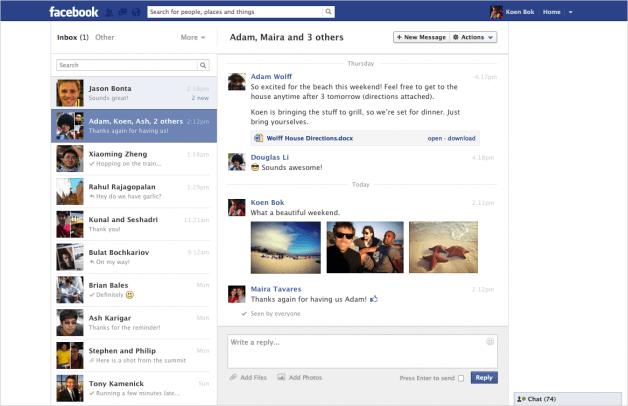 Facebook Nachrichten bekommen neues Design