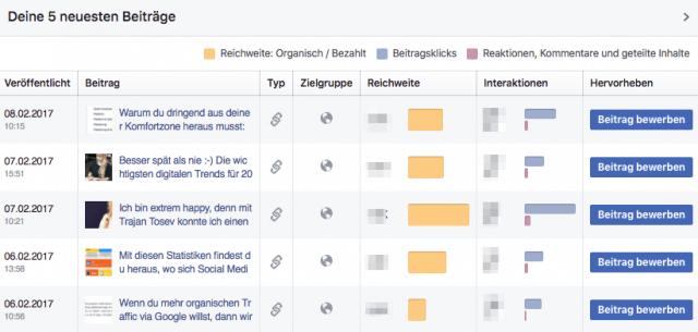Facebook Page Statistik