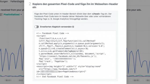 Der HTML Code des Facebook Pixels kann nach Bedarf erweitert werden