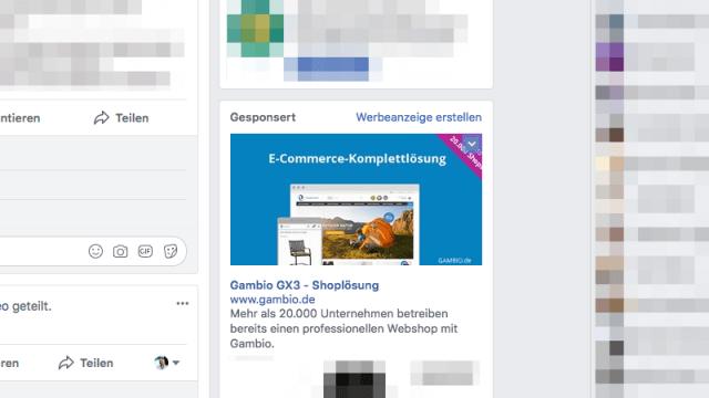 Nach dem Besuch einer Website wird dank Retargeting passende Werbung bei Facebook angezeigt