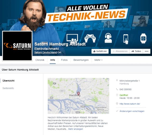 Facebook Places Umsetzung: Beispiel anhand von Saturn in Hamburg