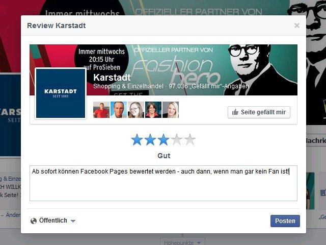 "Facebook launcht ""Rezensieren""-Button"