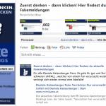 Facebook Fanpage meldet Fakes
