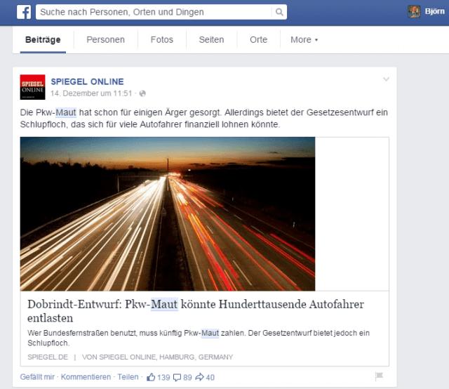 """Suche nach Beiträgen auf Facebook zum Begriff """"Maut"""""""