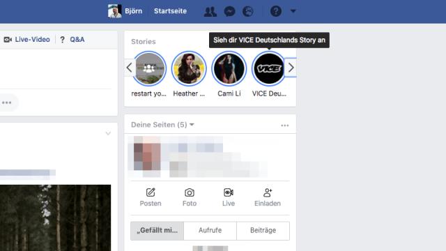 So erscheint der Hinweis auf die Story einer Facebook Seite in der Nähe deines News Feeds