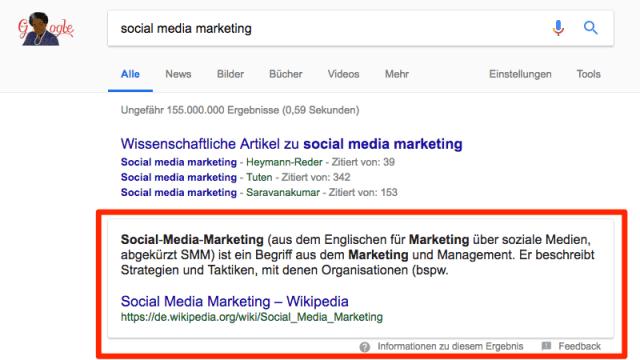Beispiel für ein Featured Snippet, das oberhalb der Suchergebnisse erscheint