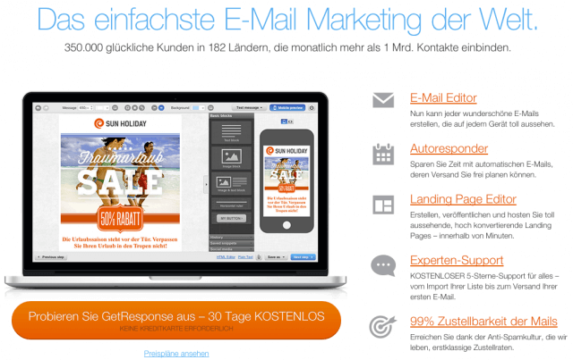 E-Mail Marketing, List Building, Userbindung: GetResponse
