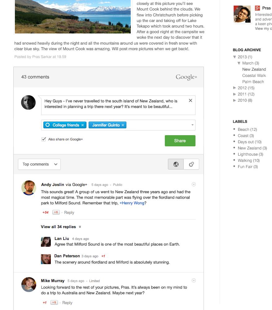 Google+ Kommentarsystem gestartet