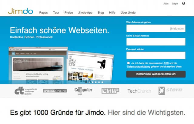 Homepage-Baukasten von Jimdo