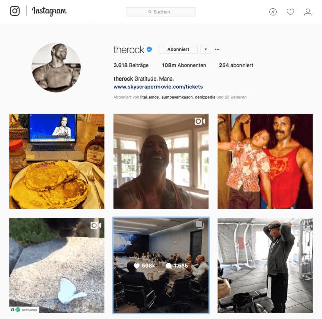 Der Instagram Account von Dwayne Johnson hat extrem viel Reichweite