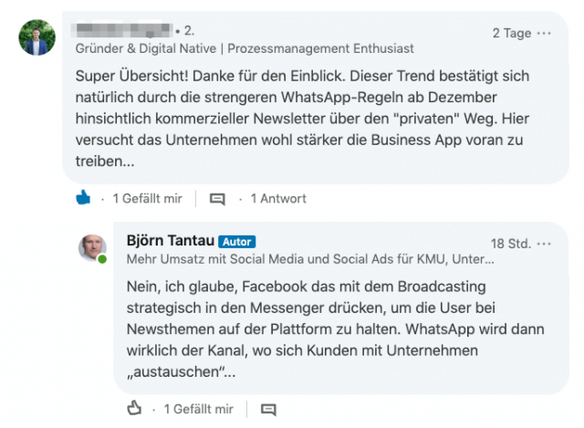 Auf LinkedIn ist aktives Community Management extrem wichtig
