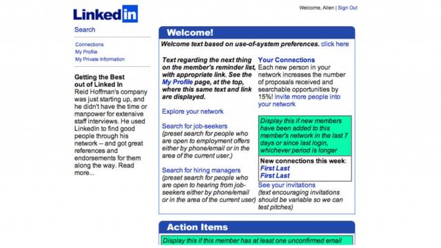 Screenshot von LinkedIn aus dem Jahr 2002