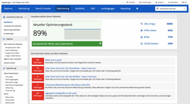PageRangers eignet sich gut für die OnPage Optimierung