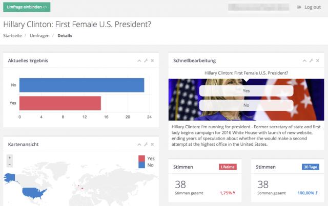 Die Vorschau zeigt, wie die Umfrage aussehen wird
