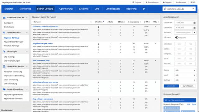 Detailansicht des Moduls Search Console