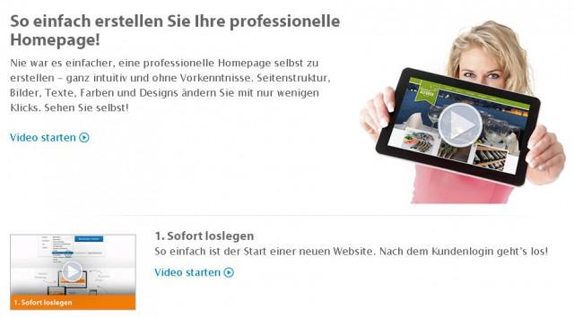 Homepage-Baukasten von Strato