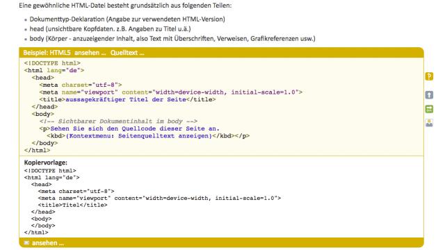 Beispiel für die Struktur eines HTML Dokuments
