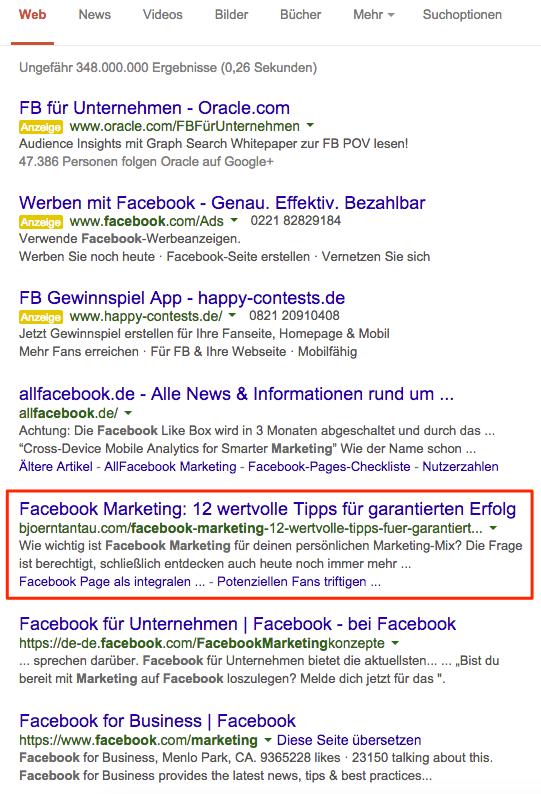 """Suchergebnis der ersten Google-Seite zum Keyword """"Facebook Marketing"""""""