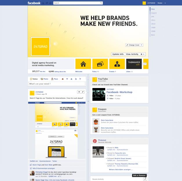So könnten die neuen Facebook Unternehmensseiten aussehen