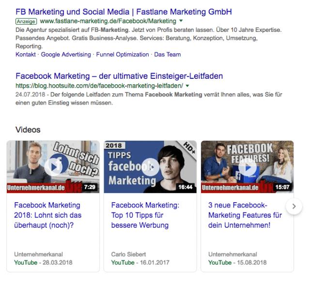 Videos werden in Suchergebnissen prominent hervorgehoben